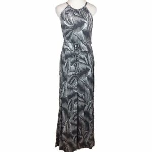 Gap Gray White Palm Leaf Tropical Maxi Dress M